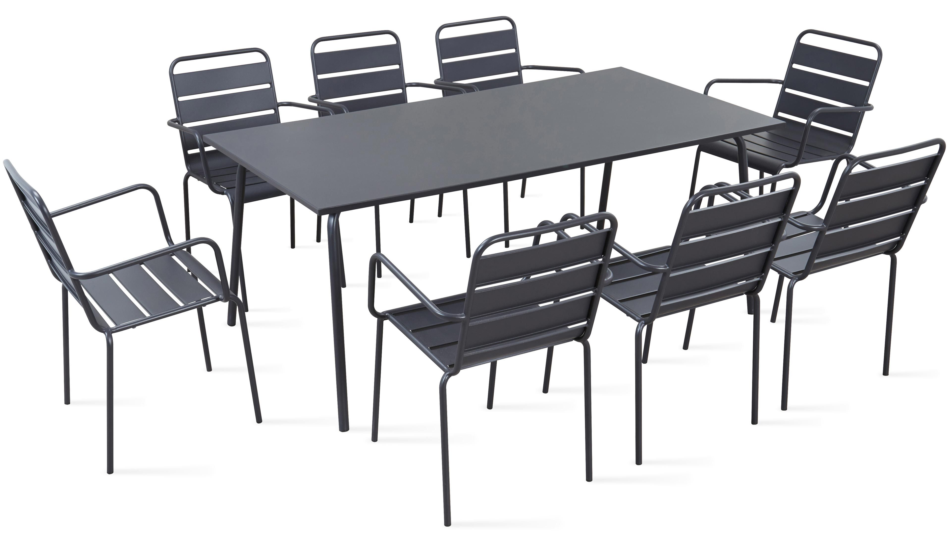 Table De Jardin En Métal Et 8 Fauteuils serapportantà Mobilier Extarieur Pas Cher