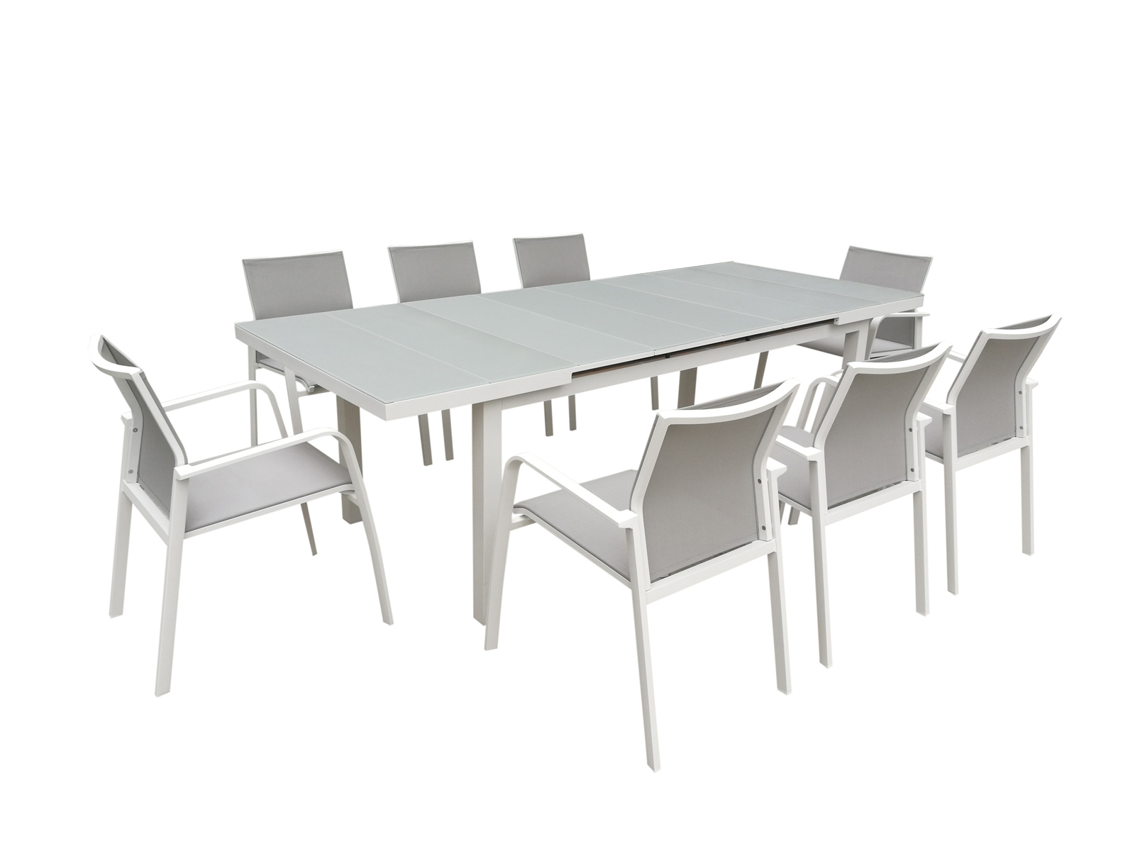 Table De Jardin Extensible Nice 180/240Cm En Aluminium Blanc Gris Et  Plateau Verre Blanc Gris serapportantà Table De Jardin En Aluminium