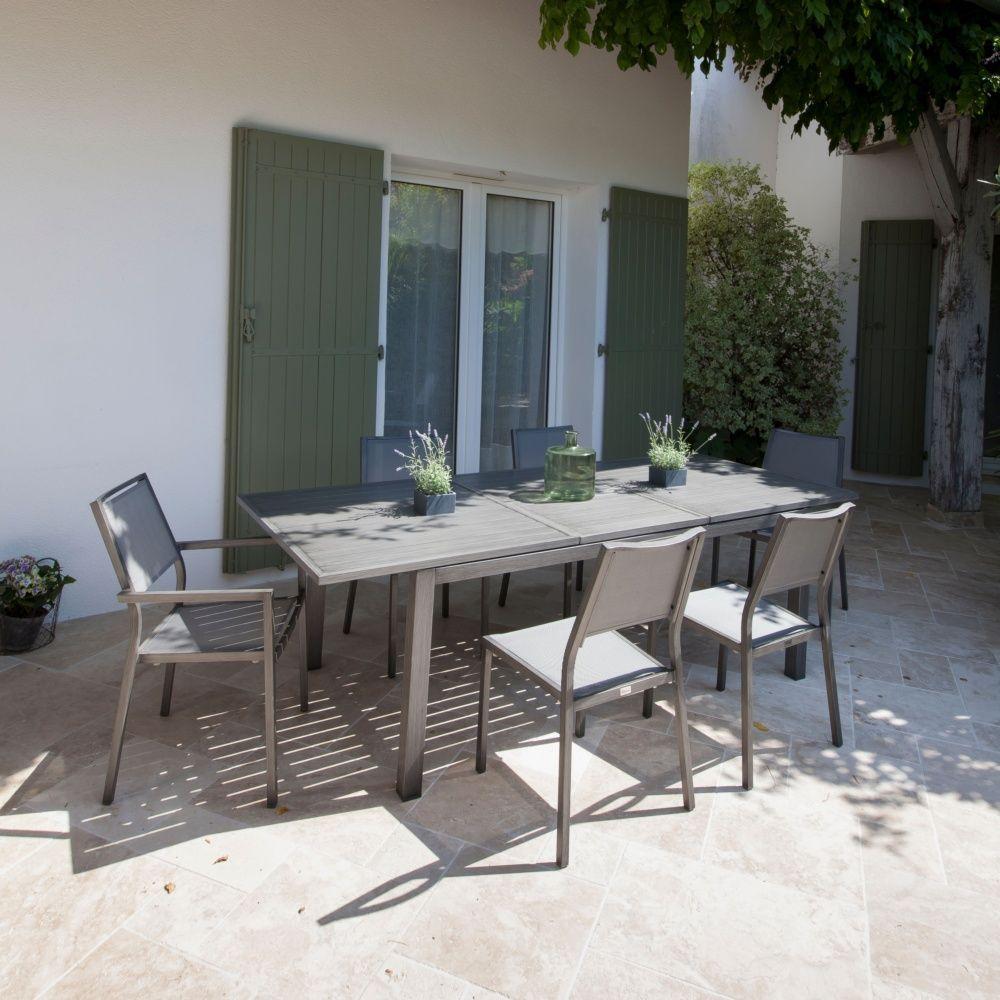 Table De Jardin Trieste Aluminium L180/240 L100 Cm Argent destiné Table De Jardin En Aluminium