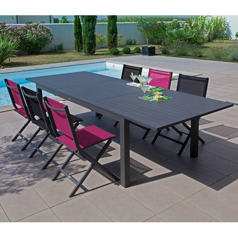 Table De Jardin Trieste Aluminium L200/280 L103 Cm Gris dedans Table De Jardin En Aluminium