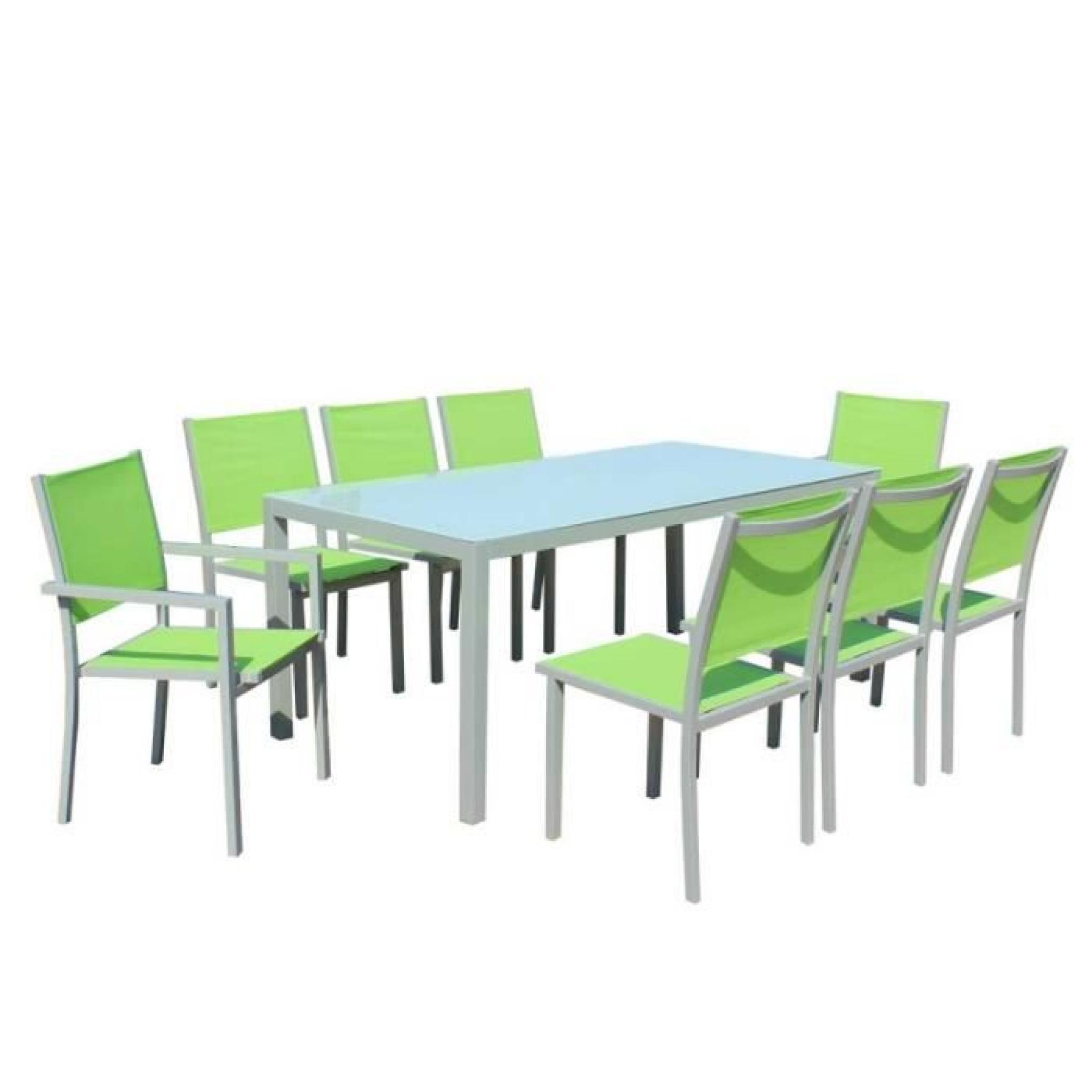 Table Et Chaises De Jardin - 8 Fauteuils Pliants - Aluminium Et Verre avec Table Et Chaises De Jardin Pas Cher