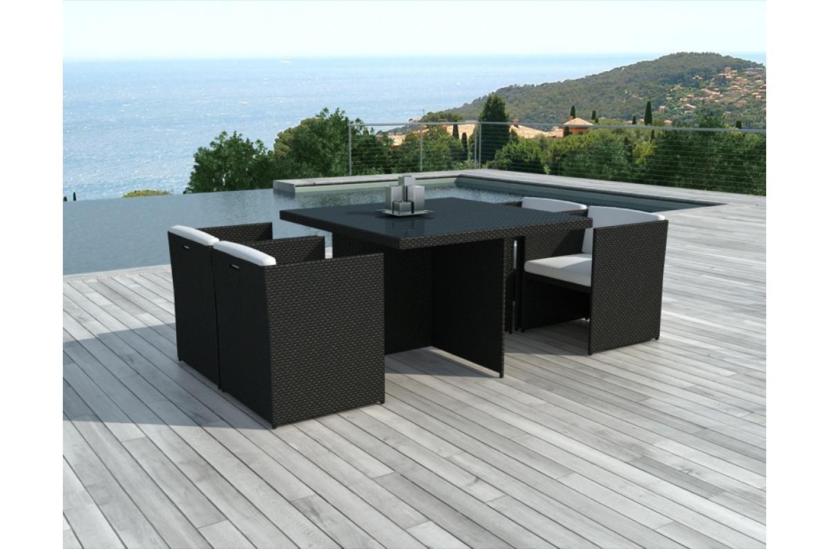 Table Et Chaises De Jardin Bicolores En Résine Tressée Alix Plus D's encequiconcerne Table Et Chaises De Jardin Pas Cher