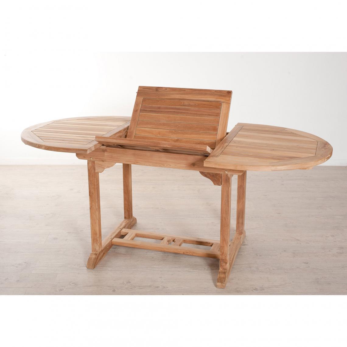 Table Ovale Extensible 4/6 Personnes En Teck Massif - Teck Plus De Détails encequiconcerne Table Exterieur 4 Personnes