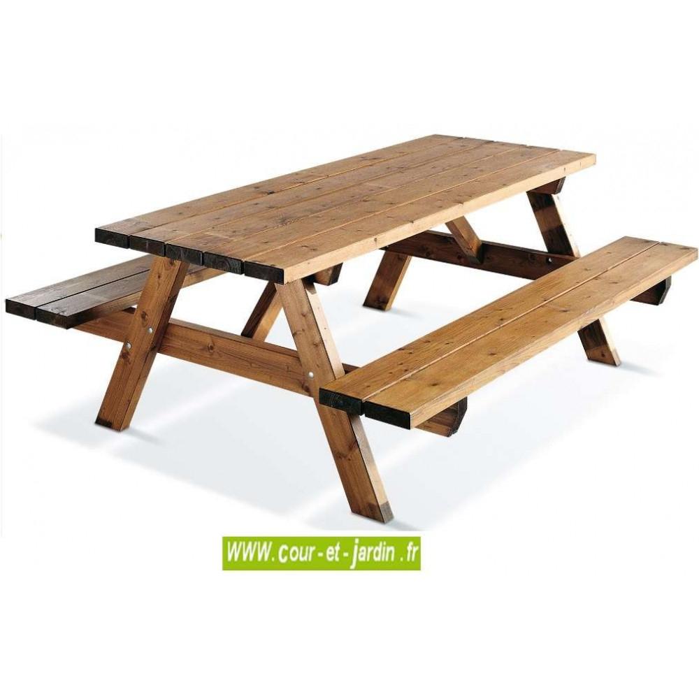 Table Pique-Nique Bois, Garden 200B - 6 Places - Table ... destiné Table Jardin Bois