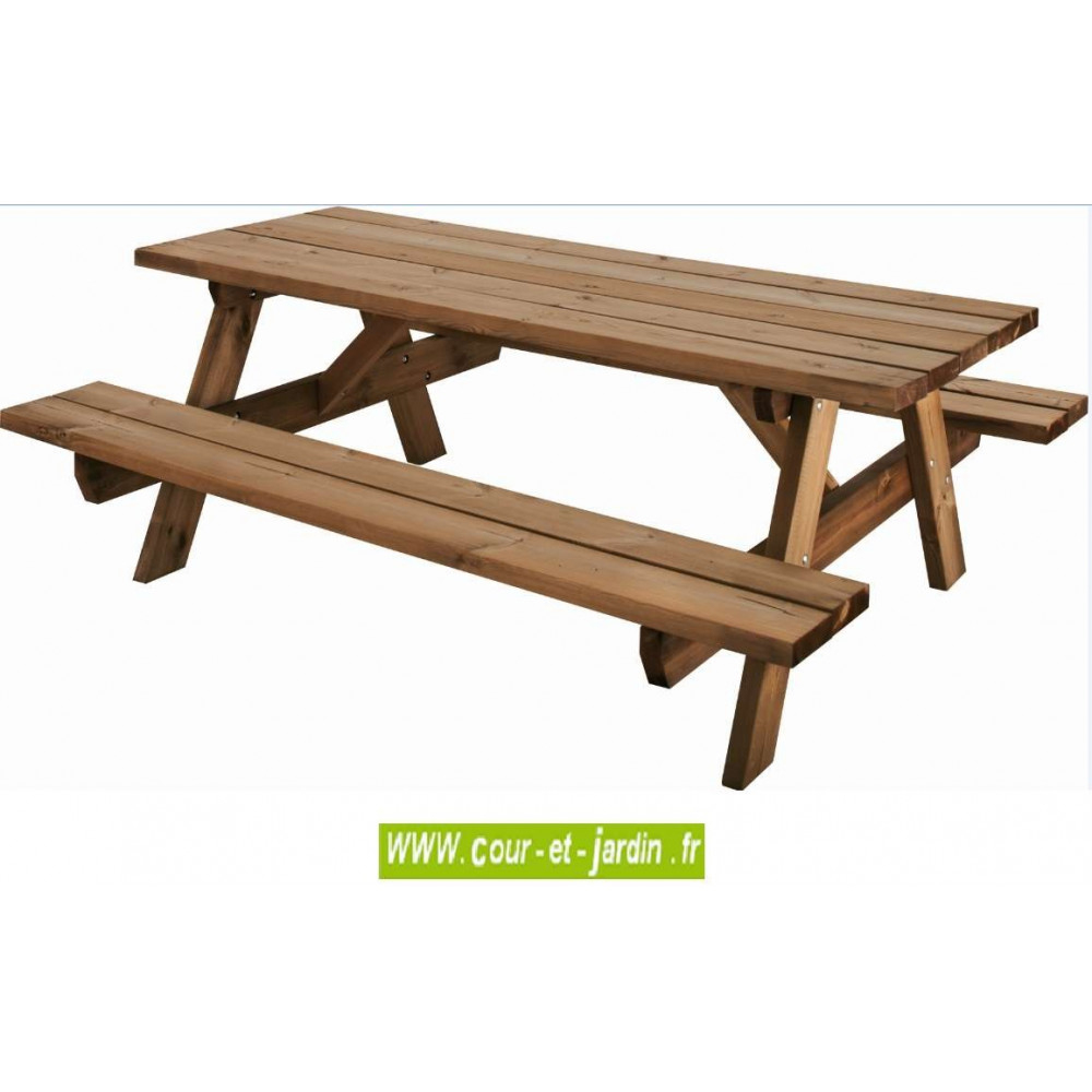 Table Pique-Nique Bois, Garden 200B - 6 Places - Table ... serapportantà Table Jardin Bois