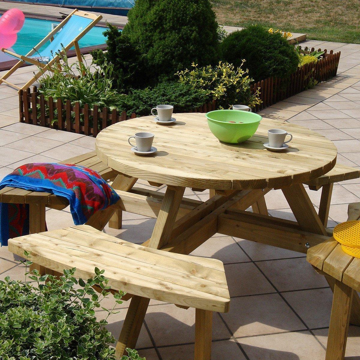 Table Pique-Nique Ronde En Bois 4 Places - Achat/vente De ... serapportantà Mobilier Extarieur Pas Cher