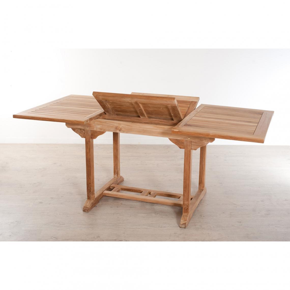 Table Rectangulaire Extensible 4/6 Personnes En Teck Massif - Teck Plus De  Détails encequiconcerne Table Exterieur 4 Personnes