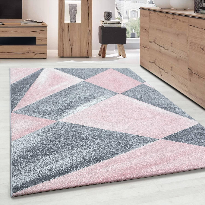 Tapis De Salon Design À Formes Géométriques 120 X 170 Cm ... avec Salon Gris Et Blanc