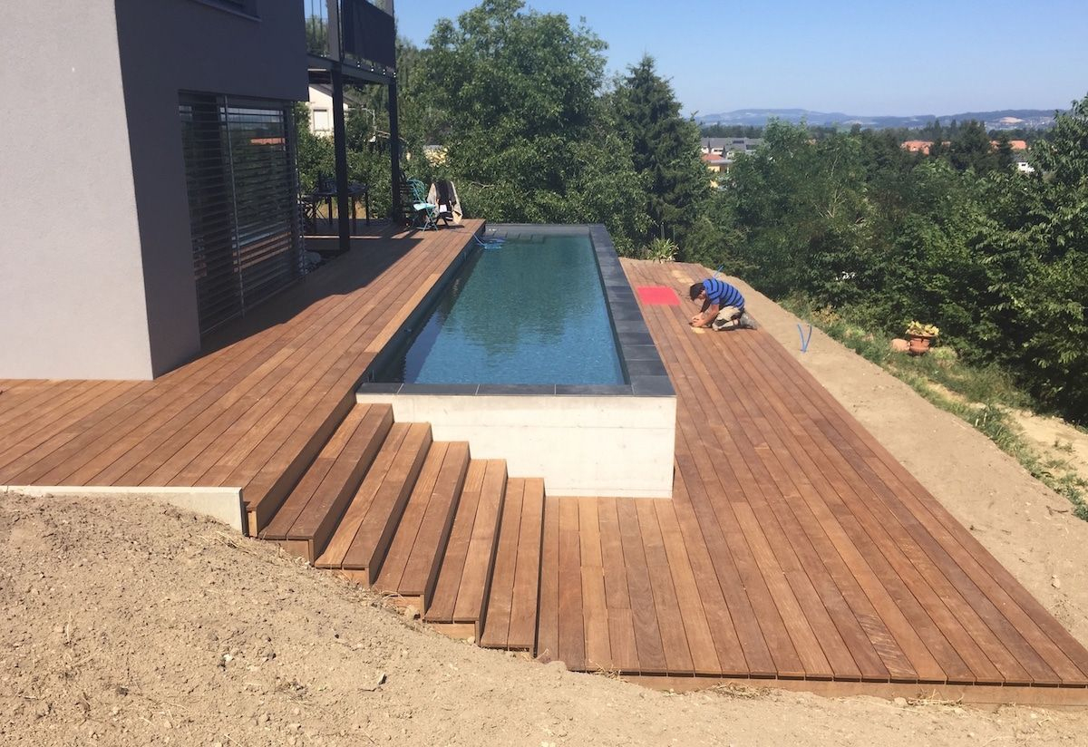 Terrasse En Bois Ipé Et Entourage Piscine Avec Escalier – As ... dedans Terrasse Ipe Piscine