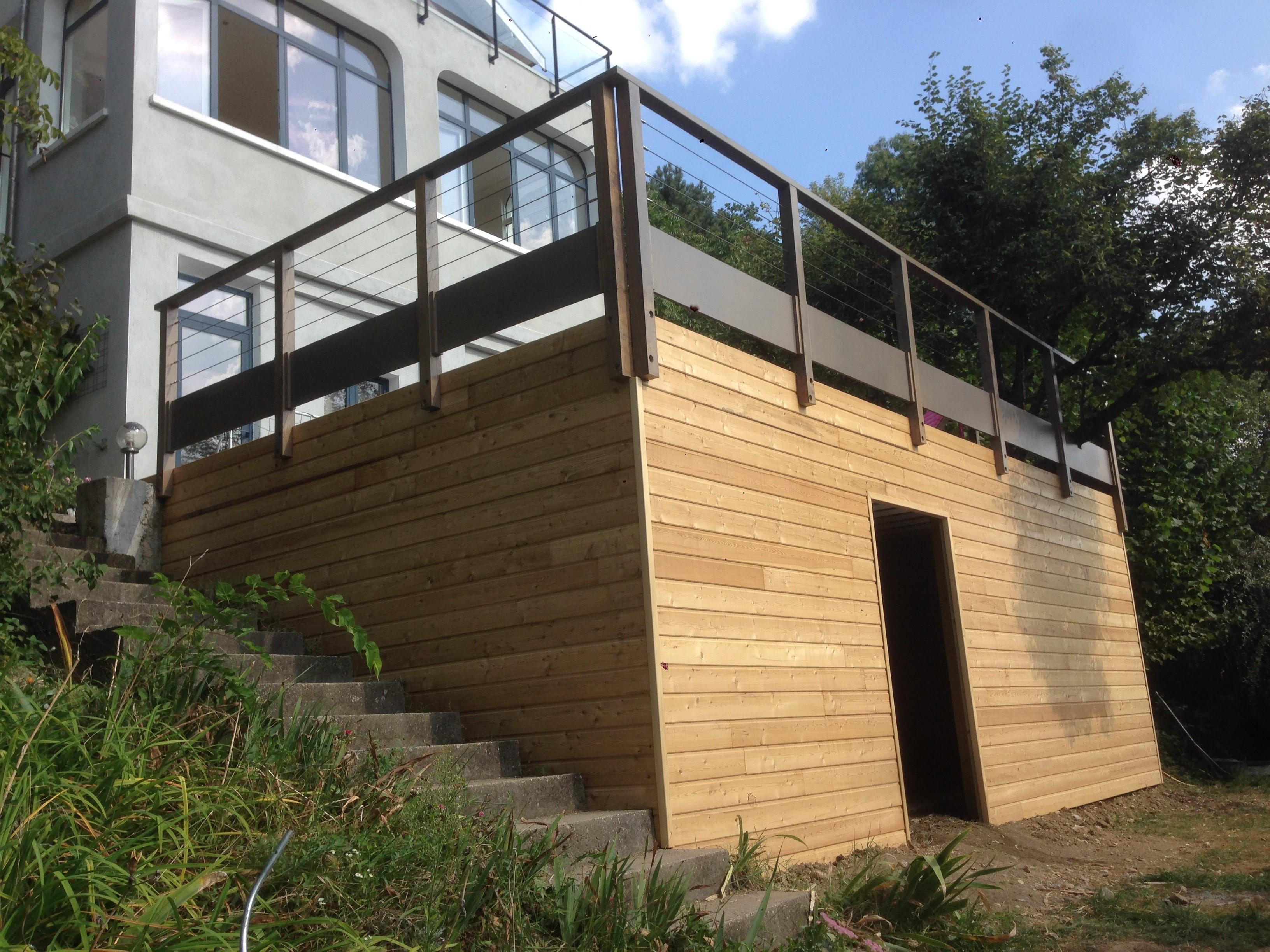 Terrasse Sur Pilotis En Bois Composite À Caluire (Rhône ... à Terrasse Bois Pilotis