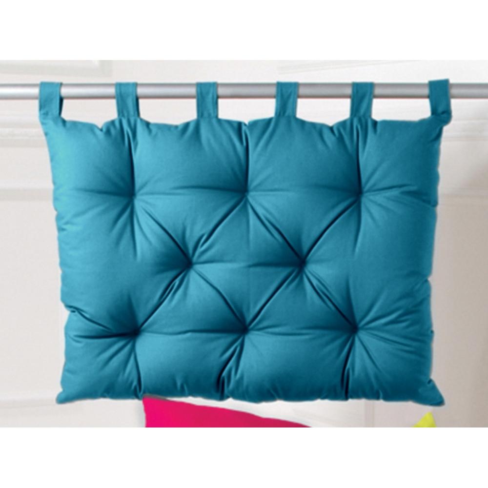 Tête De Lit Capitonnée Romeo 80 X 60 Cm Bleu Canard intérieur Coussin Bleu Turquoise