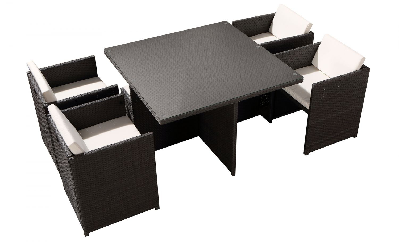 Tofino 4 Places - Ensemble De Jardin Résine Tressée Encastrable Gris/blanc intérieur Table Exterieur 4 Personnes