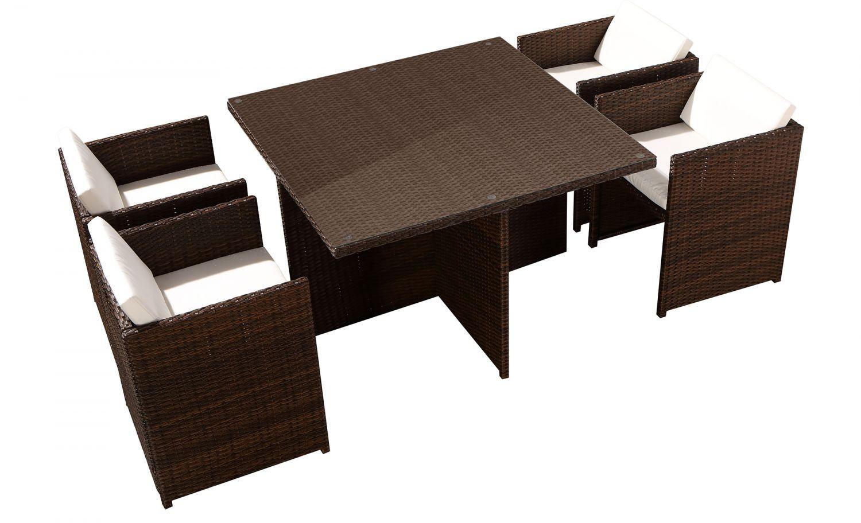 Tofino 4 Places - Ensemble De Jardin Résine Tressée Encastrable Marron/blanc destiné Table Exterieur 4 Personnes