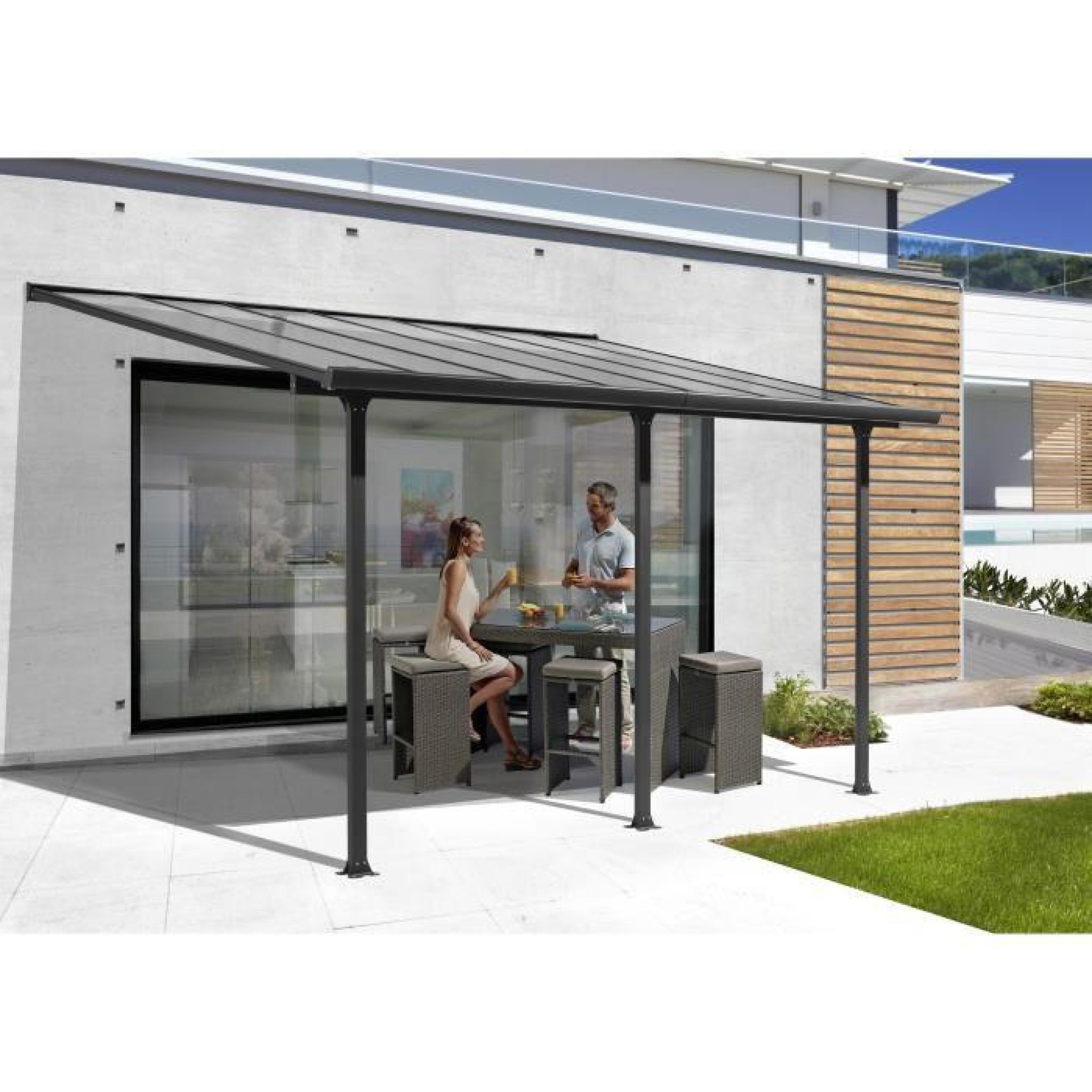 Toit-Terrasse Aluminium 15,38 M² - 501 X L 307 Cm - Gris Anthracite avec Toit Terrasse Aluminium