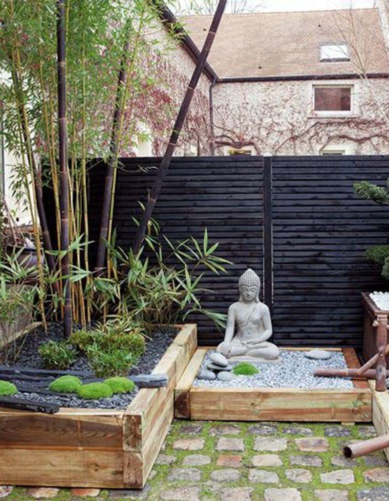 Un Jardin Zen En Rouge Et Noir - Elle Décoration à Deco Zen Exterieur