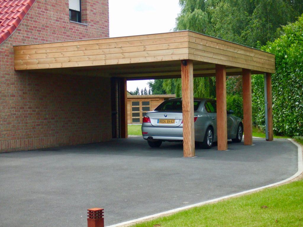Vente Carport Bois Contemporain Pas Cher En Ligne | Cerisier intérieur Abri Moto Pas Cher