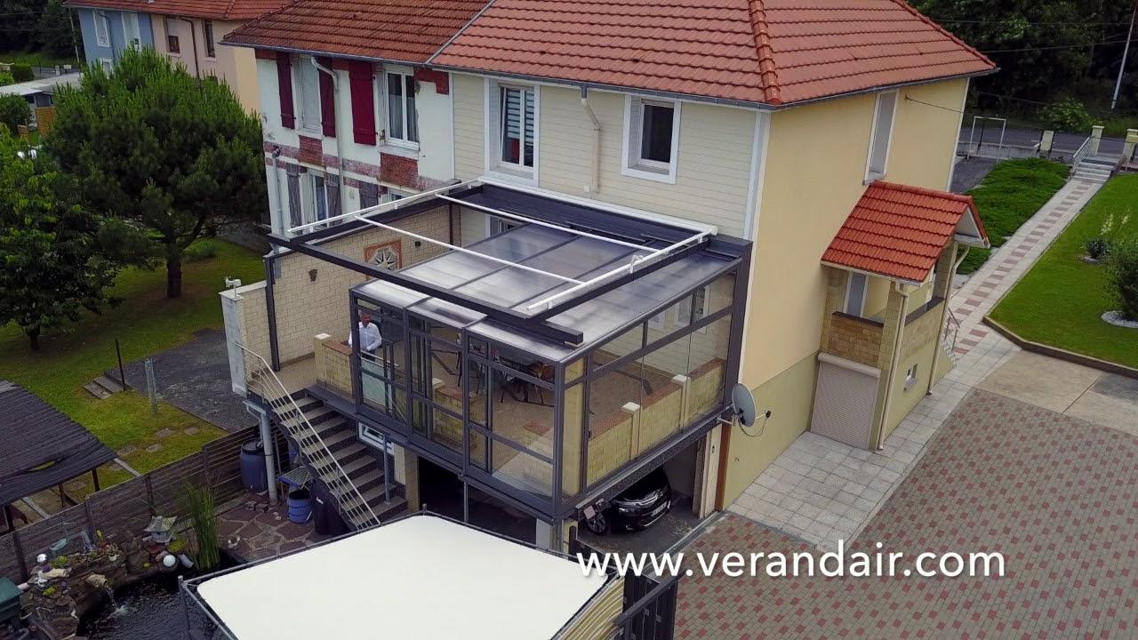 Verandair - Ouverture Totale - Coloris Bronze intérieur Abri Terrasse Coulissant