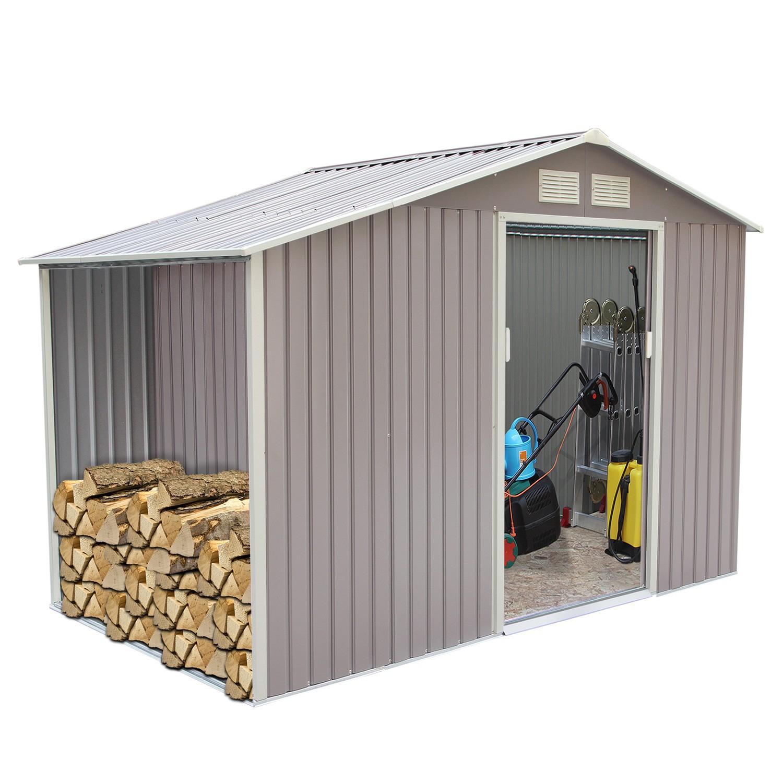 Woody 6.53 M² : Abri De Jardin Avec Abri Bûches En Metal Anti-Corrosion Gris dedans Abri De Jardin Avec Bucher